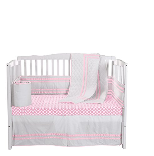 Baby Doll Bedding Soho 4 Piece Crib Bedding Set with 100% trellis design cotton sheet, Hot Pink ()
