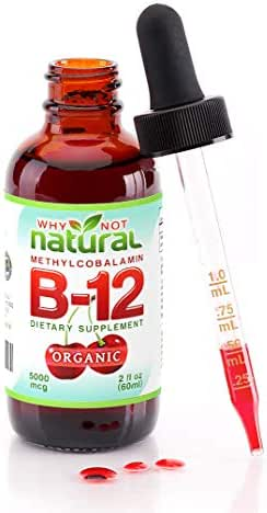 Organic Vitamin B12 Liquid - Extra Strength 60 x 5000mcg Drops (Methylcobalamin), w/Natural Cherry Flavor | Designed to Maximize Absorption & Energy | Vegan, Gluten & GMO-Free