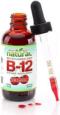 Organic Vitamin B12 Liquid - Extra Strength 60 x 5000mcg Drops (Methylcobalamin), w/Natural Cherry Flavor | Designed to Maximize Absorption & Energy | Vegan, Gluten & GMO-Free