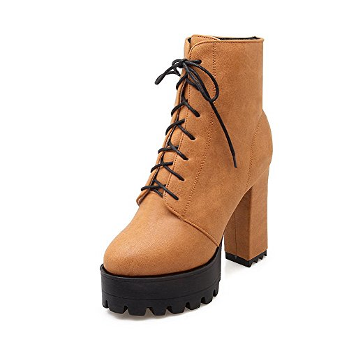 AllhqFashion Womens Round Closed Toe Low Top High Heels Solid Pu Boots Yellow sFyxRkWE