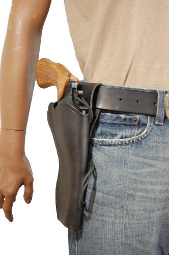 Barsony New Black Leather 49-er Style Gun Holster for 6 inch Revolvers