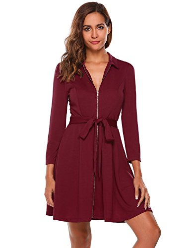 UNibelle Womens Sophisticated Front Zipper Long Sleeve Jacket Dress (Zipper Front Pleated Dress)
