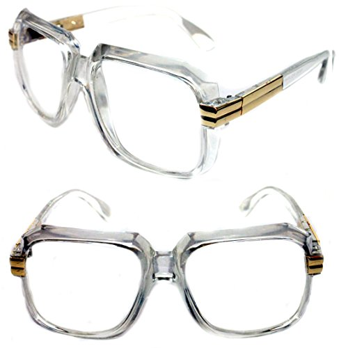 MEN'S Hip Hop 80's Gazelle Vintage Clear Gold Frame Clear Lens Eye Glasses 607 Retro