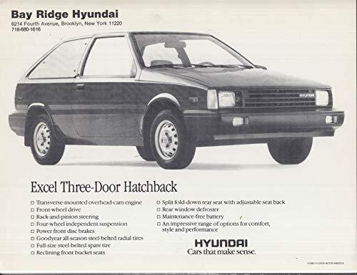 (1986 Hyundai Excel Three-Door Hatchback sell card Bay Ridge Brooklyn NY )