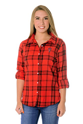 - UG Apparel NCAA Texas Tech Red Raiders Women's Plus Size Boyfriend Roll Up Sleeve Plaid Shirt, Red/Black, 2X