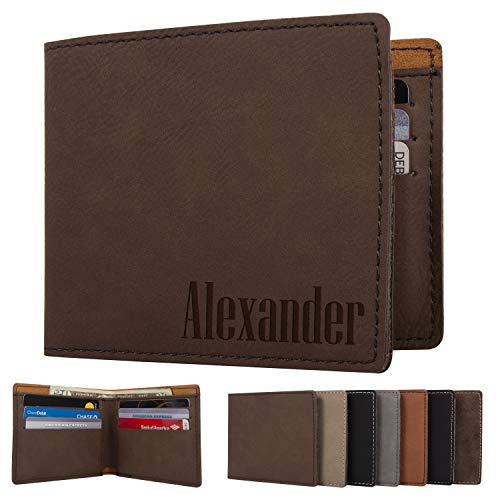 Personalized Mens Wallet - Leather Engraved Bifold Wallets for Man | Brown