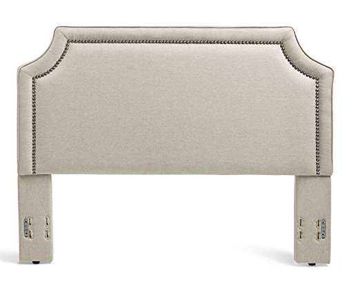 Mantua Brossard Upholstered Headboard with Nail Head Trim, Tailored Taupe Linen Over Padded Wood Frame, Modern and Sculpted Look, Fits King and California King Bed Frames and Mattresses For Sale