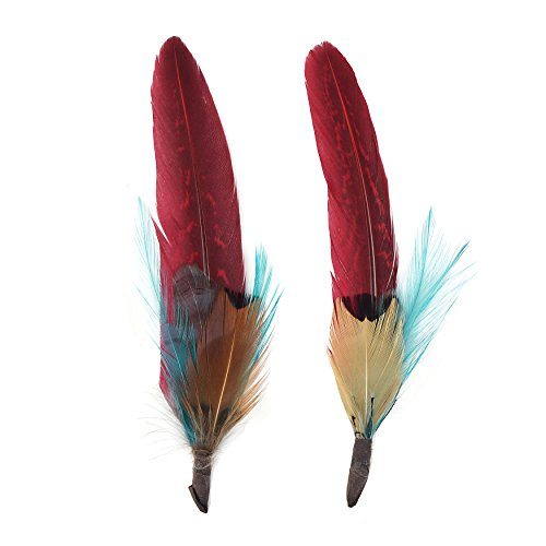 (Zucker Feather Products Feather Hat Trims, Dark Aqua/Tango Red/Natural)