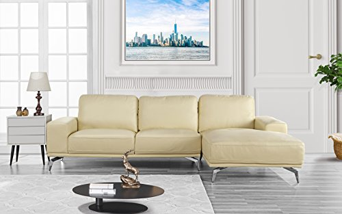 Modern Real Leather Sectional Sofa, L-Shape Couch w/Chaise on Right (Beige) For Sale