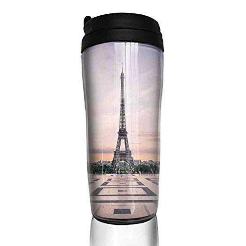 coffee cups with lids 16 oz Paris City Decor,Trocadero and Eiffel Tower at Sunshine Paris Skyline Historic Landscape View 12 oz,coffee cup knobs for cabinets
