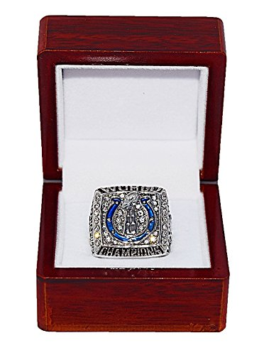 INDIANAPOLIS COLTS (Peyton Manning) 2006 SUPER BOWL XLI WORLD CHAMPIONS (Our Time) Rare & Collectible Replica National Football League Silver NFL Championship Ring with Cherrywood Display Box Trackside Autographs
