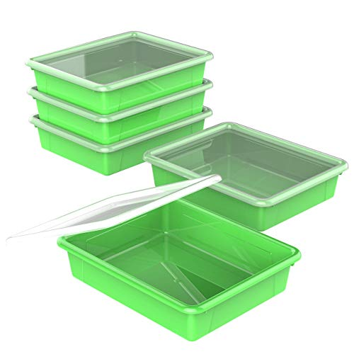 Storex Flat Storage Tray with Lid, Letter Size, 10 x 13 x 3 Inches, Green, 5-Pack (62539U05C)