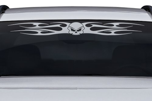 Sticky Creations - Design #155-02 Skull Tribal Flame Windshield Decal Sticker Vinyl Graphic Rear Window Banner Tailgate Car Truck SUV Van Go Cart Boat Trailer | 36