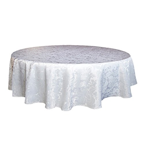 ColorBird Scroll Damask Jacquard Tablecloth Spillproof Waterproof Fabric Table Cover for Kitchen Dinning Tabletop Linen Decor (Round, 70 Inch, White) Linen Scroll