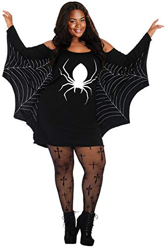 JomeDesign Womens Halloween Costumes Spiderweb Plus Size Jersey Tunic Cosplay Dress Black -
