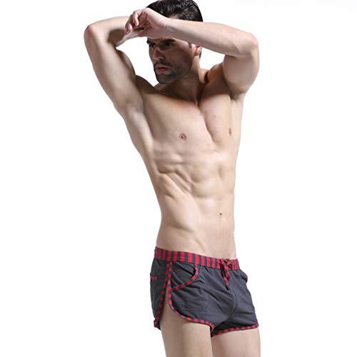 ANJUNIE Men's Stitching Cut Off Trunks with Pocket Loose Comfortable Casual Sport Shorts Pants Beachweaar(Dark Gray,M) ()