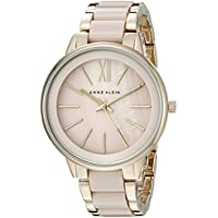 Anne Klein Women's Gold-Tone and Blush Pink Resin Bracelet Watch