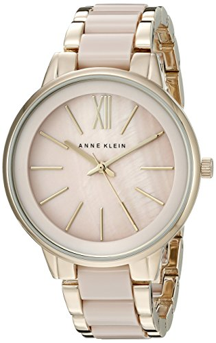 Ak Anne Klein Womens A Day (Anne Klein Women's AK/1412BMGB Gold-Tone and Blush Pink Resin Bracelet Watch)