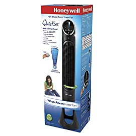 Honeywell HYF290B Quietset 8-Speed Whole-Room Tower Fan 2 Oscillation 8 Speed Touch Button Electronic Controls Remote Control, nests in back of fan housing for easy storage