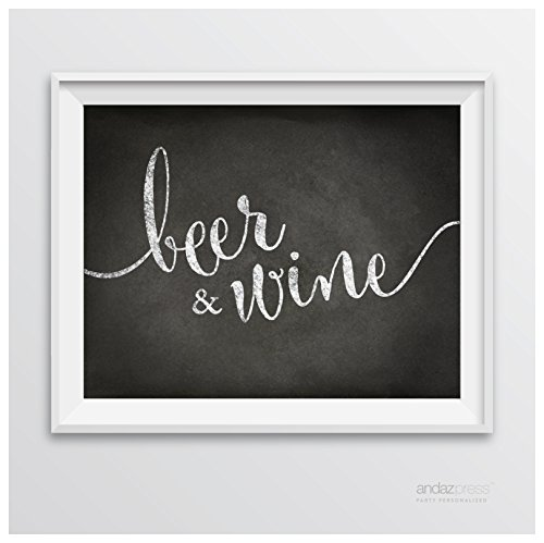 Andaz Press Wedding Party Signs, Vintage Chalkboard Print, 8.5-inch x 11-inch, Beer & Wine Bar Sign, 1-Pack
