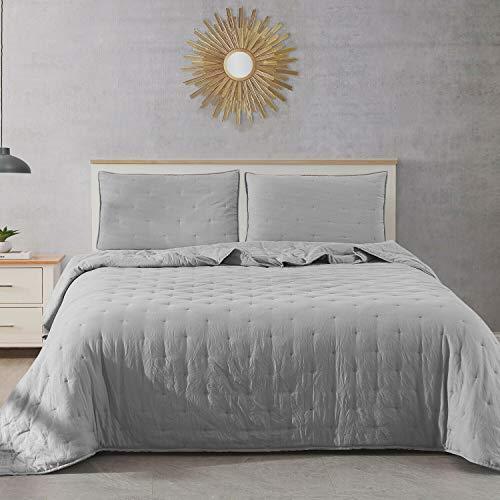 (DN_LIN New Fairmont Dot Stitch Vintage Washed Quilt & Pillow Sham Set (Size King - Light Gray).)