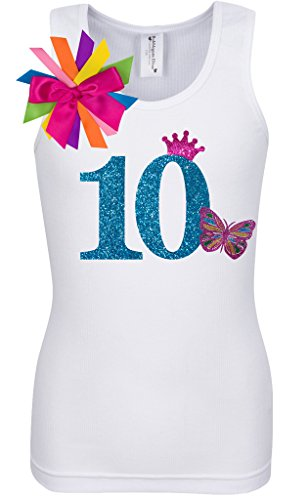 Bubblegum Divas Big Girls 10th Birthday Rainbow Butterfly Shirt 9-10