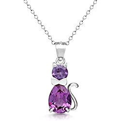 "Sterling Silver Fancy Simulated Birthstone CZ Cat Charm Pendant Necklace with 18"" Chain - June"
