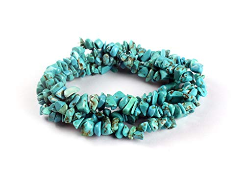 35 inches Blue Turquoise Chip Stone Loose Gemstones Beads Drilled Strand for Jewelry Making (Blue Turquoise)