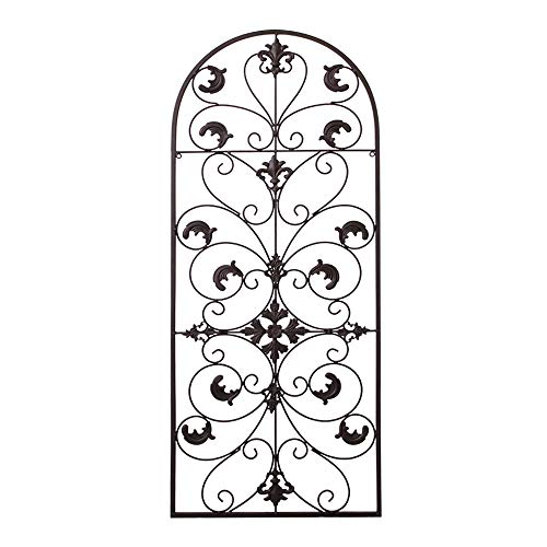 GB HOME COLLECTION gbHome GH-6777BRN Metal Wall Decor, Decorative Victorian Style Hanging Art, Steel Décor, Window Arch Design, 16.5 x 41.5 Inches, Espresso Brown