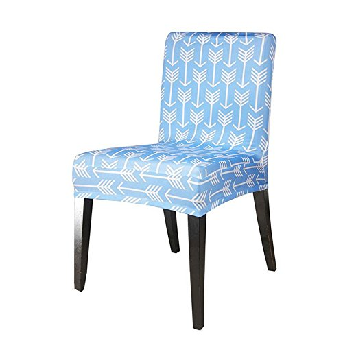 Chair Cover Spandex Stretch Removable Dining Room Wedding Banquet Slipcovers Geometric Flower Pattern Ornament Universal Style Light Blue (Stretch Medallion)