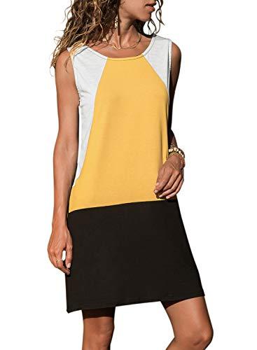 Handbags Junior Yellow - HOTAPEI Women's Sleeveless Summer Dresses for Women Casual Color Block Geometric Short Tank Vest Loose T-Shirt Dress Sundresses Small Yellow
