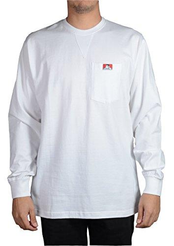 Ben Davis Men's Heavy Duty Long Sleeve Pocket T-Shirt (White, Large)