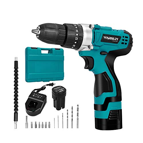 WARSLEY 16.8V 1.5Ah Lithium Ion Cordless Drill/Driver Set - Compact Drill Kit with LED, 3 Function, 2 Speed, 2 Batteries, 1 Hour Fast Charger, 18 Torque Setting, 13 pcs Drill/Driver Bits Included