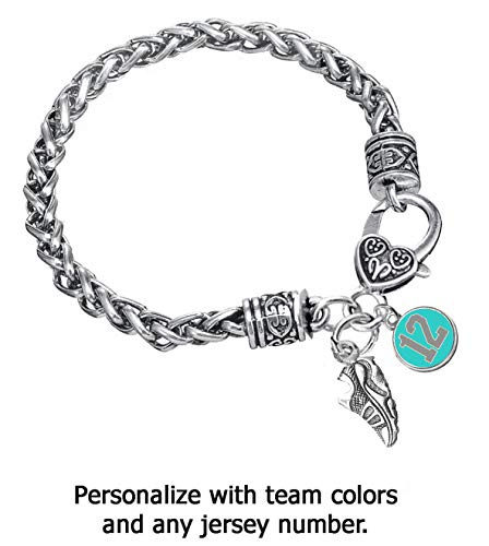 Edge Sports Team Colors Turquoise & Grey Braided Silver Running, Cross Country, Track Bracelet (Personalize with Player Number) - Regular