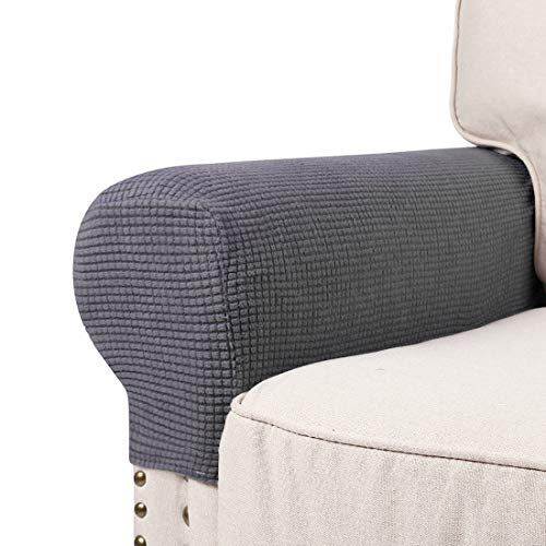 misaya No Pins Armrest Slipcover Stretch Spandex Jacquard Anti-Slip Furniture Protector with Elastic Band for Loveseat Cover Set of 2, Grey