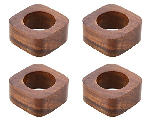 Shalinindia Artisan Crafted Dinner Table Decorations Wood Napkin Rings Set of 4 for Wedding Party ()