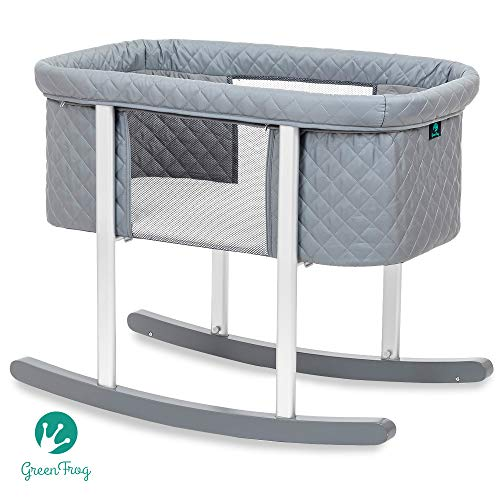- Baby Bassinet Cradle Includes Gentle Rocking Feature, Great for Newborns and Infants Safe Mattress Includes Wheels for Easy Movement High End Washable Fabric Lightweight (Grey (Diamond))