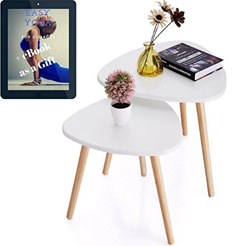 - Wood Coffee Table Set of 2 for Living Room - White Gloss Nesting Furniture - Gift Yoga E-book