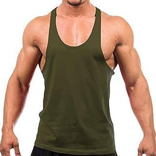 YAKER Men's Blank Stringer Y Back Bodybuilding Gym Tank Tops (S, Army Green) (B071FC9G6K)   Amazon price tracker / tracking, Amazon price history charts, Amazon price watches, Amazon price drop alerts