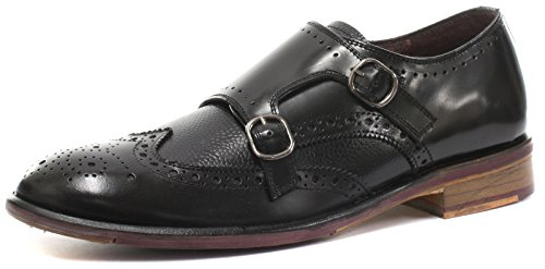 Lincoln London Black Homme Cuir Mocassin Brogue Leather Richelieus Monk PPZSx