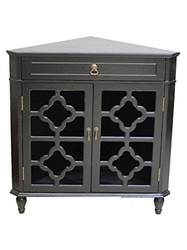 Heather Ann Creations Modern 2 Door Corner Cabinet with Drawer with 8 Pane Clover Glass Insert Black