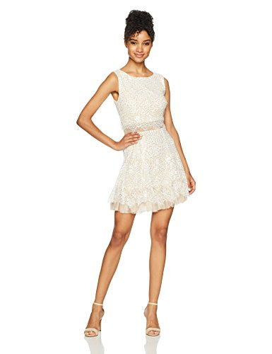 Bee Darlin Junior's Sleeveless Scoop Neck Popover Dress, Ivory/Gold/Nude, 1/2