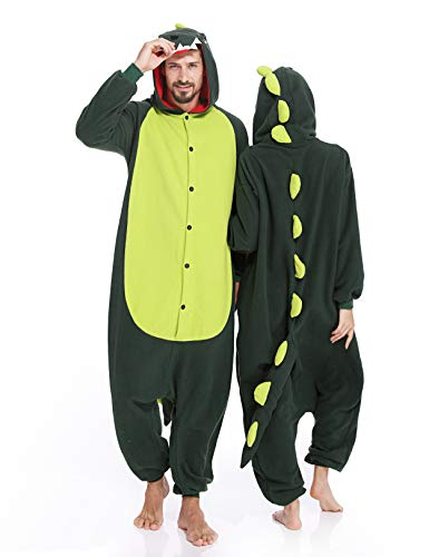 Dinosaur Adult Onesies Dinosaur Pajamas Animal One Piece Cosplay Halloween Costume for Men Women Green ()