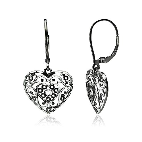 Two Tone Dangling Heart (Black Flashed Sterling Silver Two-Tone Diamond-cut Filigree Heart Dangle Leverback Earrings)