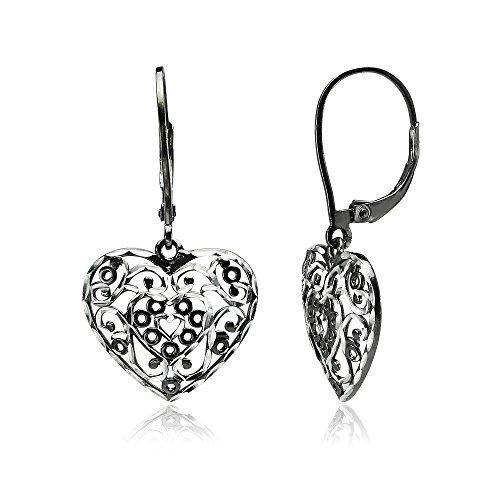 (Black Flashed Sterling Silver Two-Tone Diamond-cut Filigree Heart Dangle Leverback Earrings)