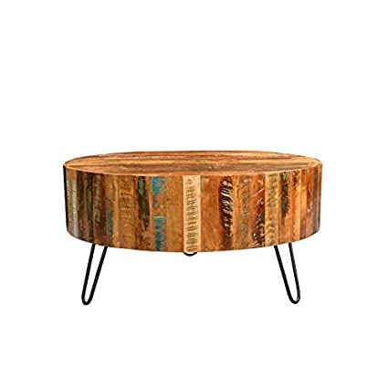 Round Coffee Table Reclaimed Wood 7