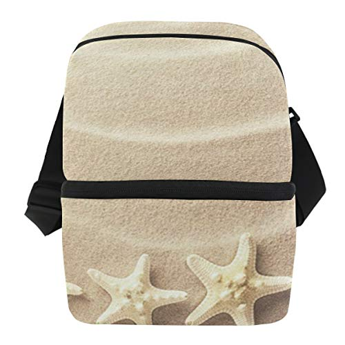 Lunch Bag Sea Star Fish Portable Cooler Bag Adult Leakproof Food Organizer Zipper Tote Bags for Work