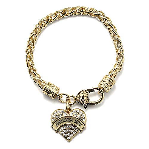 Inspired Silver - Appaloosa Mom Braided Bracelet for Women - Gold Pave Heart Charm Bracelet with Cubic Zirconia Jewelry