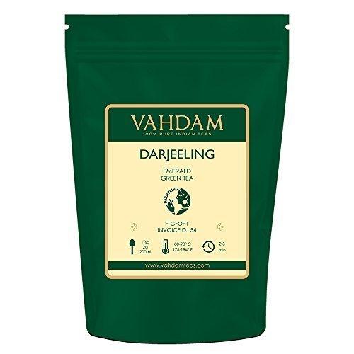VAHDAM, Darjeeling Emerald Green Tea Loose Leaf (50 Cups)   Pure Green Tea Leaves   RICH ANTI-OXIDANTS   Natural Detox Tea, Slimming Tea, Weight Loss Tea   Brew as Hot Tea or Iced Tea   3.53oz