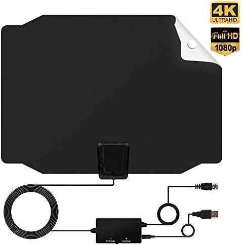 2018 Versión] Interior Antena, Antena TDT Digital TV, 50 – 80 Miles Range señal Amplificador Booster, Soporte 4 K HD VHF UHF FM 16.5 ft Cable coaxial (Negro Blanco): Amazon.es: Electrónica